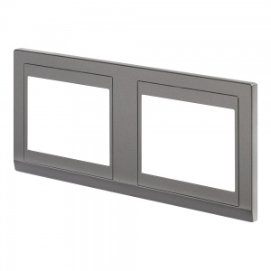 Retrotouch Simplicity Hotel plate 2 Gang Dual Cover Mid Grey