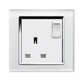 Single switched socket White CT | Glass Plug sockets by Retrotouch
