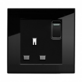 Single switched socket Black PG | Glass Plug sockets by Retrotouch