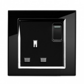 Single switched socket Black CT | Glass Plug sockets by Retrotouch