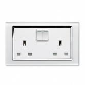 RTS2000 13A DP Double Plug Socket with Switch CT White