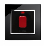45A Cooker switch with Neon DP Black CT