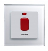 45A Cooker switch with Neon DP White PG