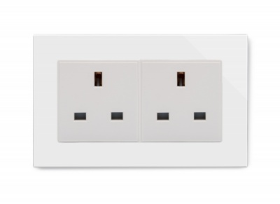 Crystal PG 13A Double Plug Unswitched Socket White