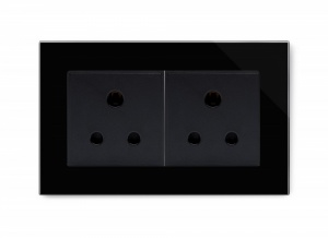 Crystal PG Double 15A Round Pin Socket Black