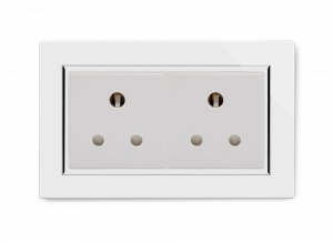 Crystal CT Double 15A Round Pin Socket White