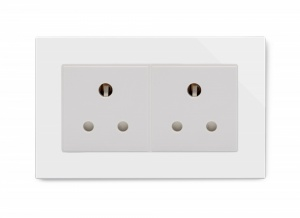 Crystal PG Double 15A Round Pin Socket White