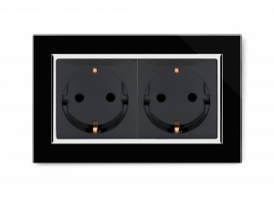 16A Double Schuko Socket Black CT