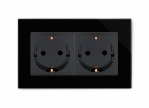 Crystal PG 16A Double Schuko Plug Socket Black