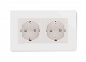 Crystal PG Double 16A Schuko Socket White