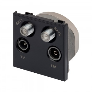 RT Quadplexed Outlet Module (50mm x 50mm) Black