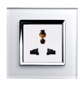Crystal CT Single Multifunction Plug Socket White
