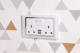 Crystal 2.1A USB & 13A DP Double Plug Socket with Switch White CT