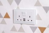 Crystal 2.1A USB & 13A DP Double Plug Socket with Switch White PG