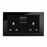 RTS2000 13A DP Double Plug Socket with Switch PG Black
