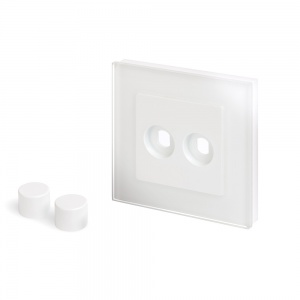 Crystal PG 2 Gang LED Dimmer Plate White