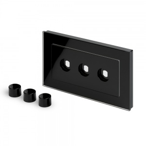 Crystal PG 3 Gang LED Dimmer Plate Black