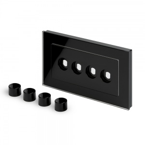 Crystal PG 4 Gang LED Dimmer Plate Black