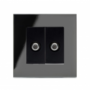 Crystal PG Dual Satelite F Type Socket Black