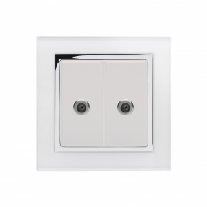 Crystal CT Dual Satelite F Type Socket White
