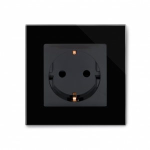 Crystal PG 16A Single Schuko Plug Socket Black