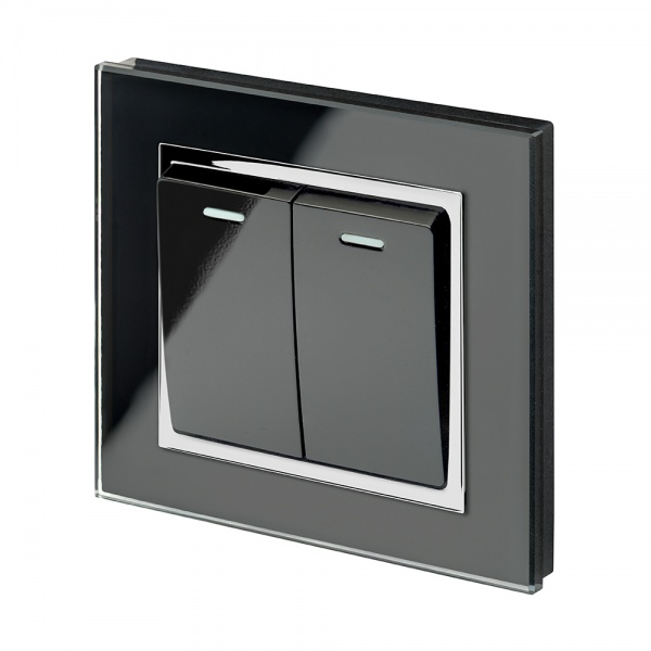 Crystal CT 2 Gang Rocker Light Switch  Black