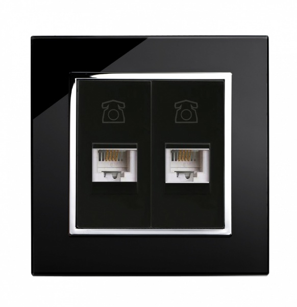 Crystal CT Dual RJ11 Socket Black