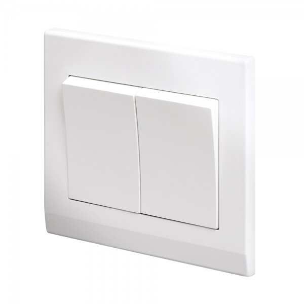 Simplicity Mechanical Light Switch 2 Gang White