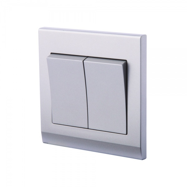 Simplicity Mechanical Light Switch 2 Gang Mid Grey