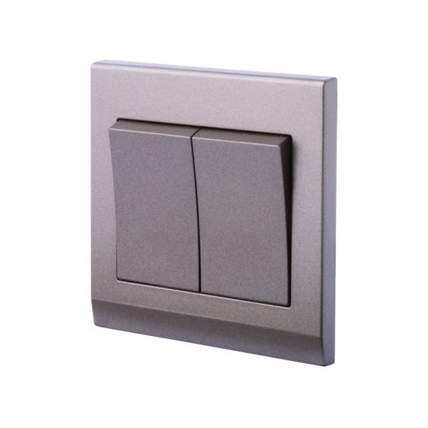 Simplicity Mechanical Light Switch 2 Gang Charcoal