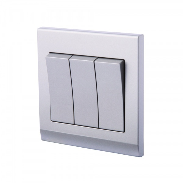 Simplicity Mechanical Light Switch 3 Gang Mid Grey