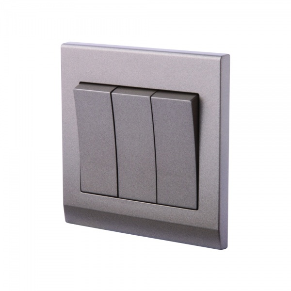 Simplicity Mechanical Light Switch 3 Gang Charcoal