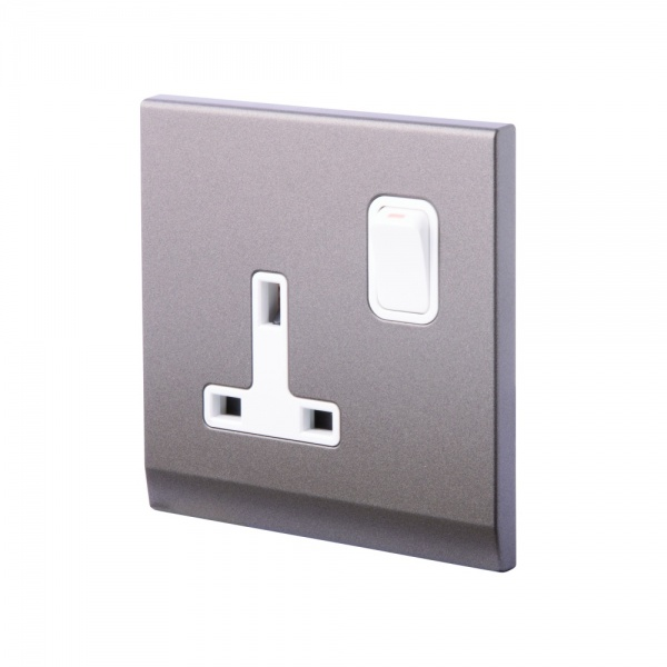 Simplicity 13A DP Single Plug Socket with Switch Charcoal