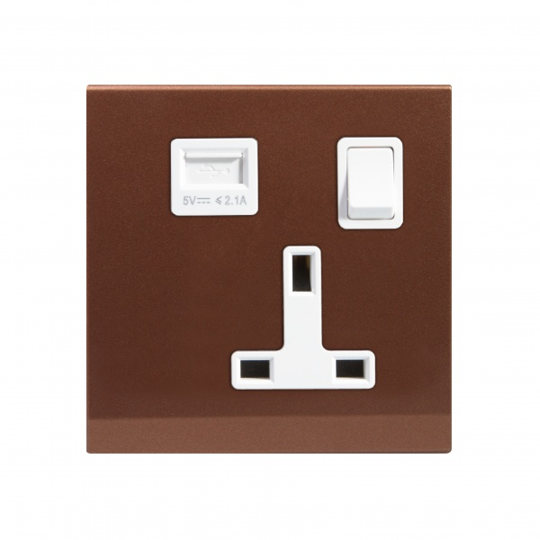 Simplicity 13A Single Plug Socket & USB with Switch Bronze