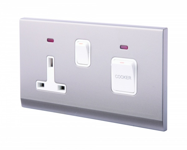 Simplicity 45A DP Cooker Switch + 13A Plug Socket W/ Neon Mid Grey
