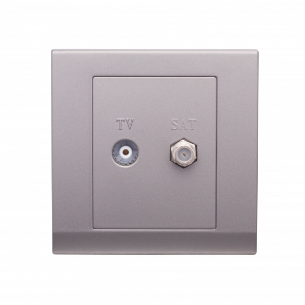 Simplicity Coaxial TV + Satellite Socket Mid Grey