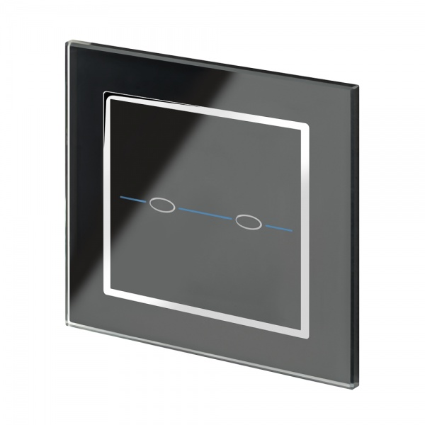 Crystal CT 2 Gang Touch Light Switch Black