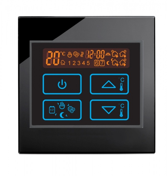 Boutique Underfloor Heating Electric Touch Thermostat switch 16A HV100 Black Glass