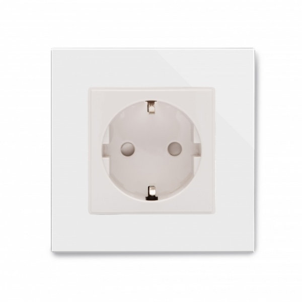 Crystal PG 16A Single Schuko Plug Socket White