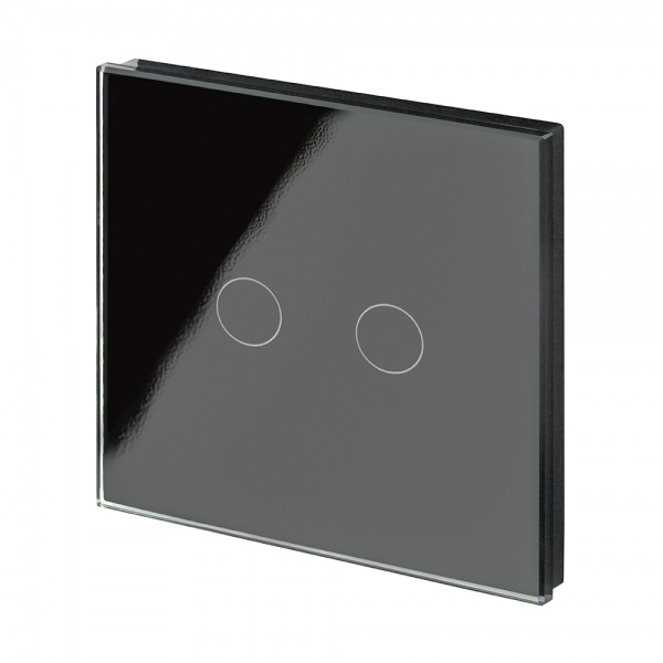 Crystal PG Wirefree Touch Light Switch 2 Gang Black