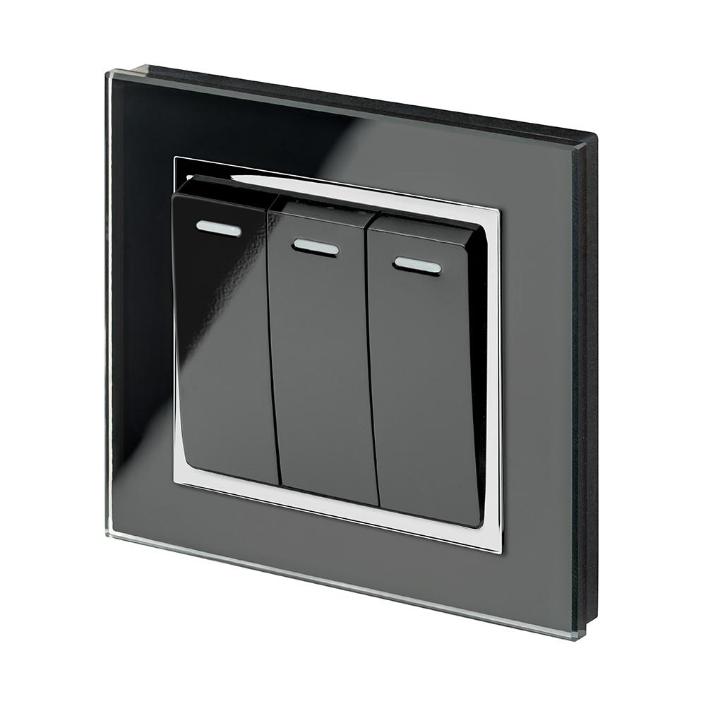 Crystal CT 3 Gang Rocker Light Switch Black