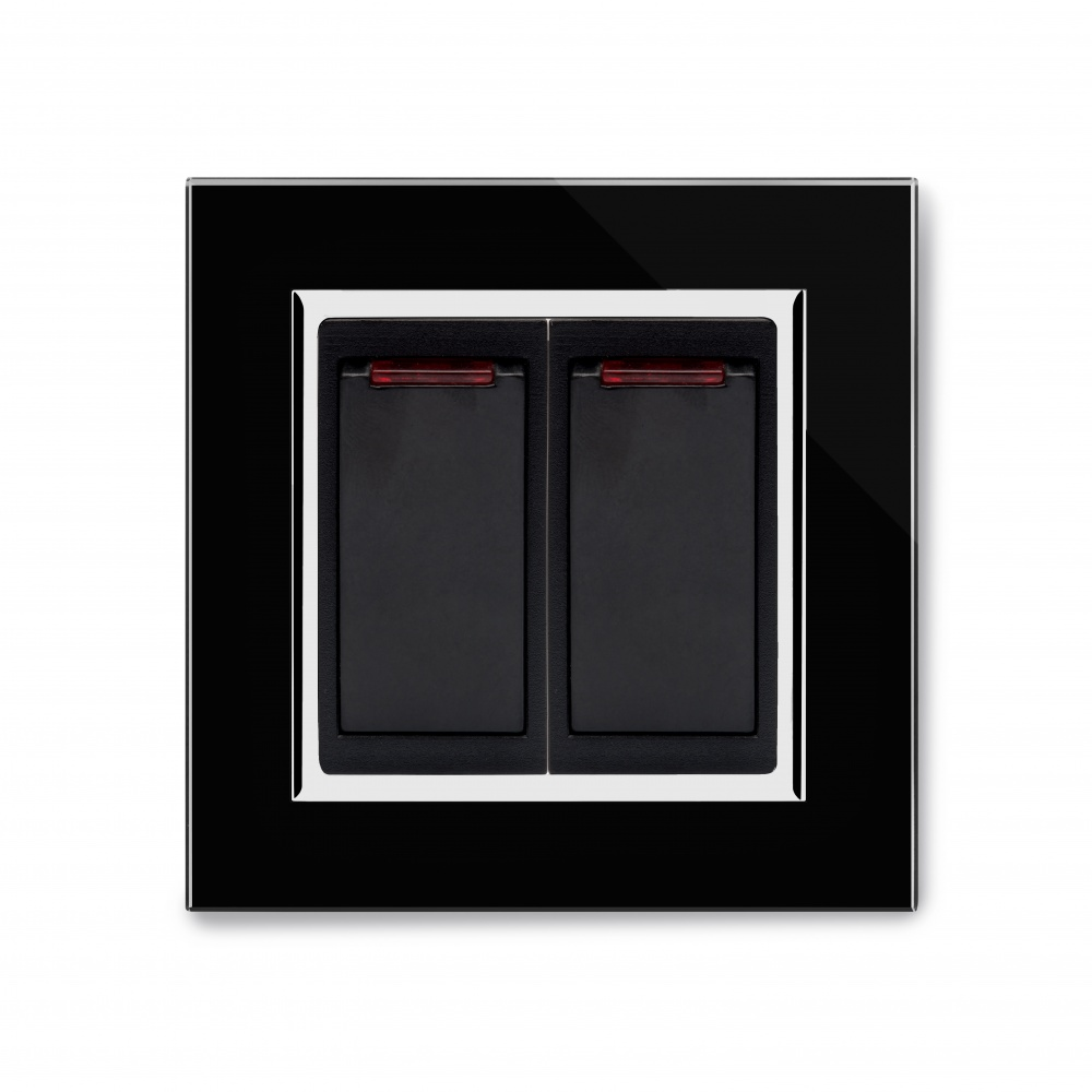 Crystal Ct 20a Dual Switch With Neon Black Retrotouch Designer Light Wiring