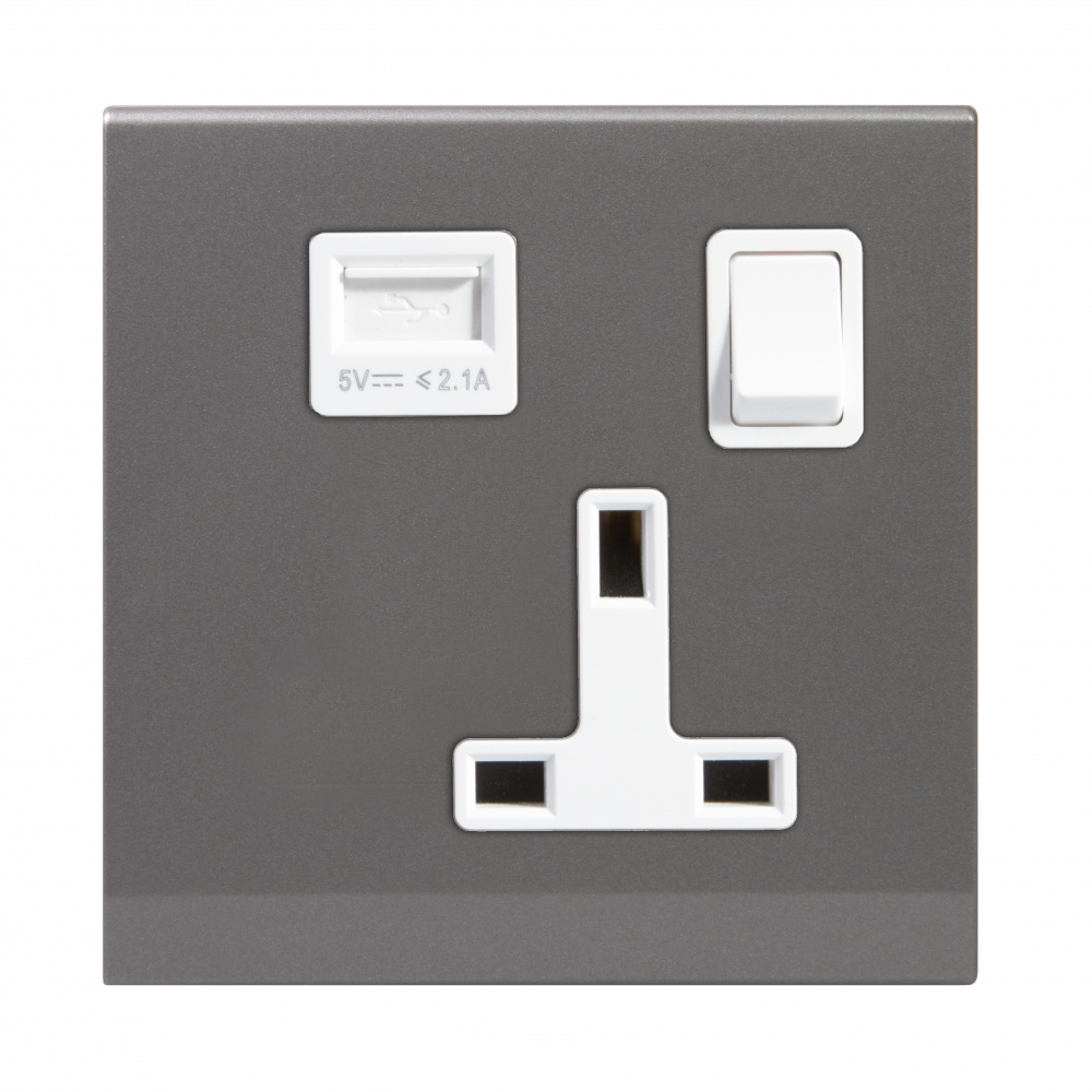 Simplicity 13a Single Plug Socket Usb With Switch Mid Grey Uk Wiring Colours