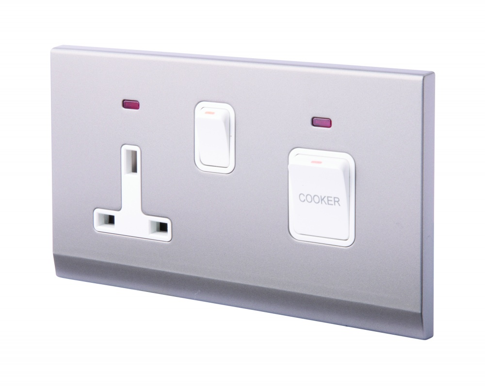 Simplicity 45a Dp Cooker Switch 13a Plug Socket W Neon Mid Grey Uk Wiring Colours