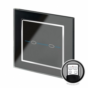 Crystal CT Touch & Remote Light Switch 2 Gang  Black