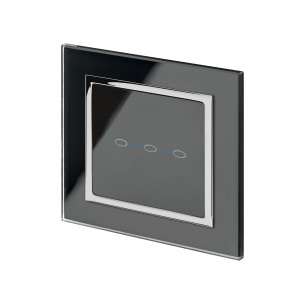 Crystal CT Wirefree Touch Light Switch 3 Gang Black