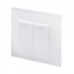 Crystal PG (Retractive/Pulse) Light Switch 2 Gang White
