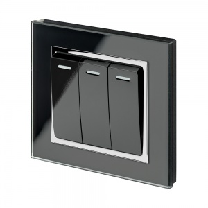 Crystal CT 3 Gang Rocker Light Switch Black
