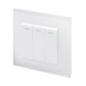 Crystal PG (Retractive/Pulse) Light Switch 3 gang White