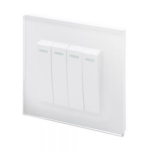 Crystal PG (Retractive/Pulse) Light Switch 4 gang White